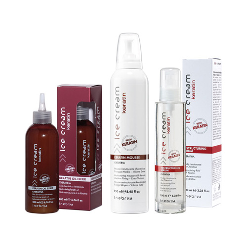 GLASS KERATIN - mousse, serum, olja elixir - INEBRYA